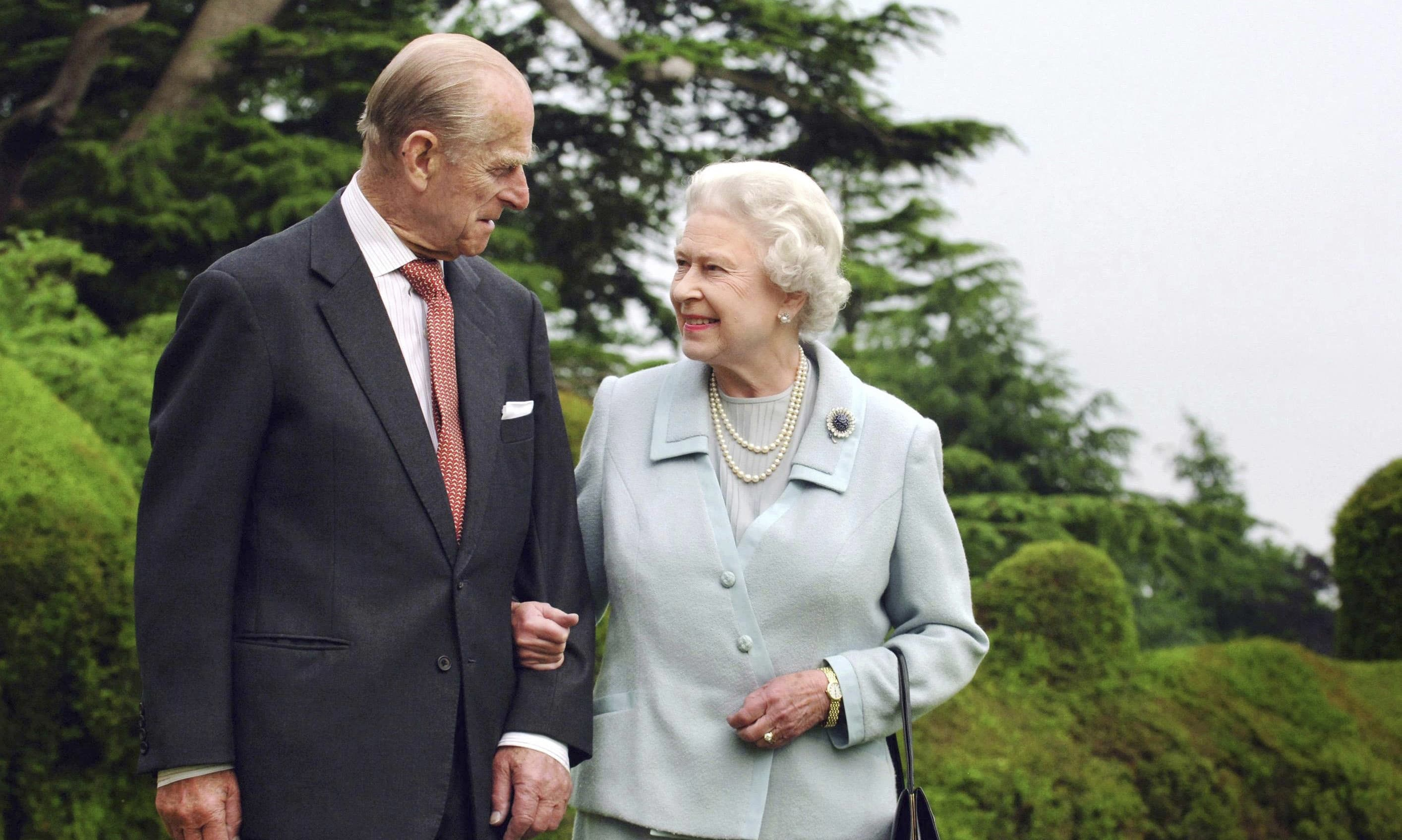 In this Nov. 18, 2017 file photo Britain's Queen Elizabeth II and The Duke of Edinburgh pose for a photo at Broadlands marking their diamond wedding anniversary. — AP