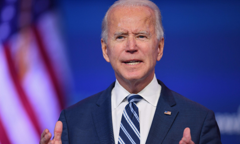 In this file photo taken on November 10, 2020, United States President-elect Joe Biden delivers remarks at The Queen in Wilmington, Delaware. — AFP