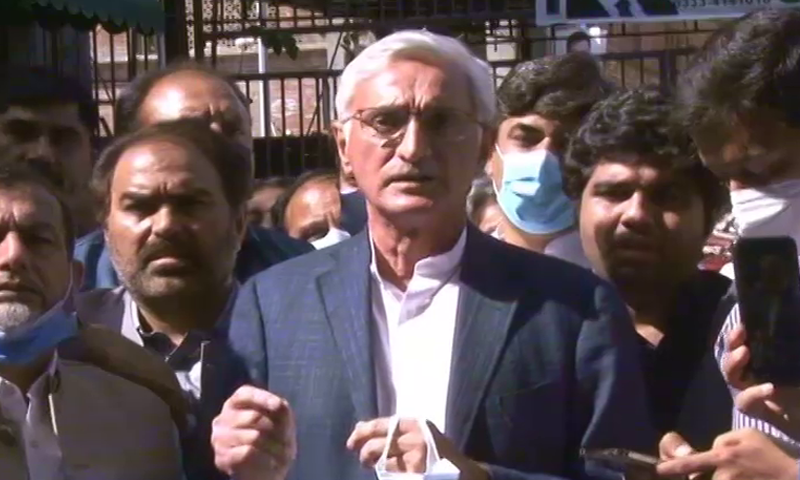 Jahangir Tareen speaks to the media in Lahore on Saturday. — DawnNewsTV