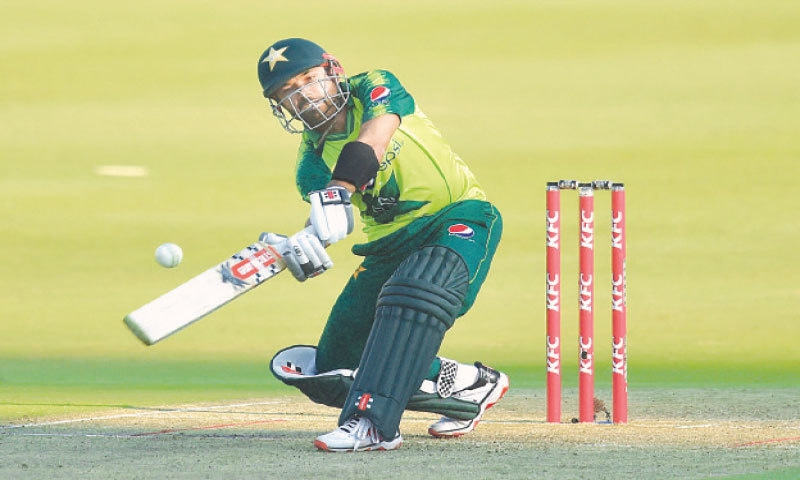 JOHANNESBURG: Pakistan's Mohammad Rizwan plays a shot during the first Twenty20 International against  South Africa at the Wanderers on Saturday.—AFP