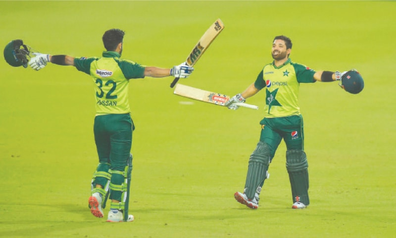 Johannesburg: Pakistan's Hasan Ali (left) and Mohammad Rizwan celebrate after winning the first Twenty20 match against South Africa at the Wanderers stadium on Saturday. Opener Rizwan smashed an unbeaten half-century to lead Pakistan to a nail-biting four-wicket victory over the hosts.—AFP