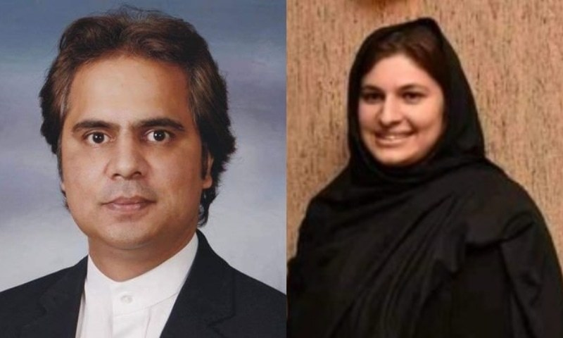 This combination photo shows PTI candidate Ali Asjad Malhi (L) and PML-N's Nosheen Iftikhar. – Twitter