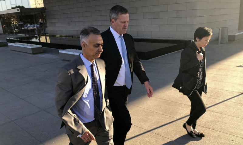 In this Nov 22, 2019, file photo, Imaad Zuberi, left, leaves a federal courthouse with his attorney Thomas O'Brien, second from left, in Los Angeles, US. — AP/File