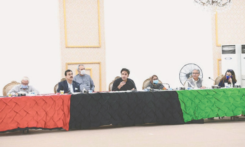 PPP chairman Bilawal Bhutto-Zardari presides over the party's CEC meeting on Sunday.—PPI