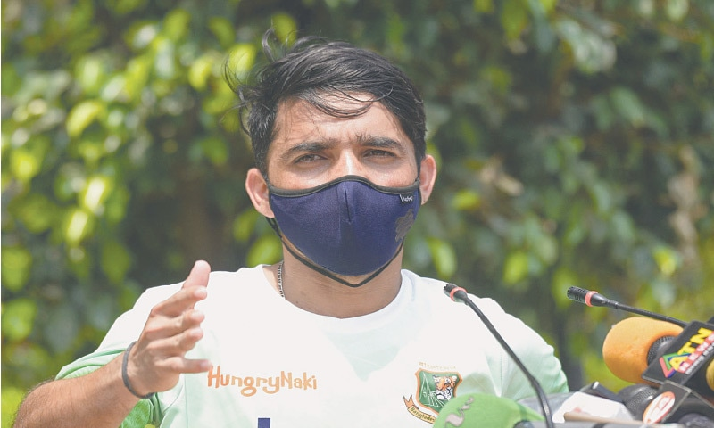 BANGLADESH Test captain Mominul Haque gestures during a media conference at the Sher-e-Bangla National Cricket Stadium on Sunday.—AFP