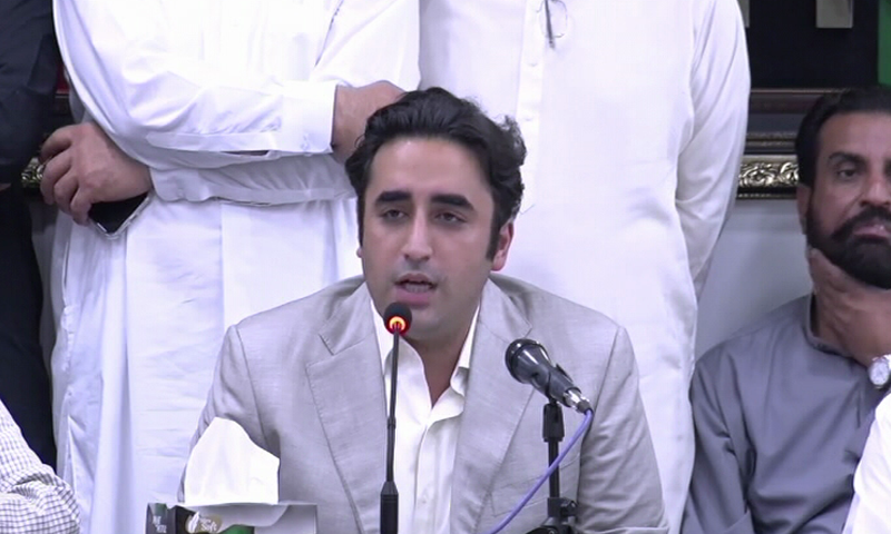 PPP chairperson Bilawal Bhutto-Zardari addresses a press conference after the CEC meeting. — DawnNewsTV
