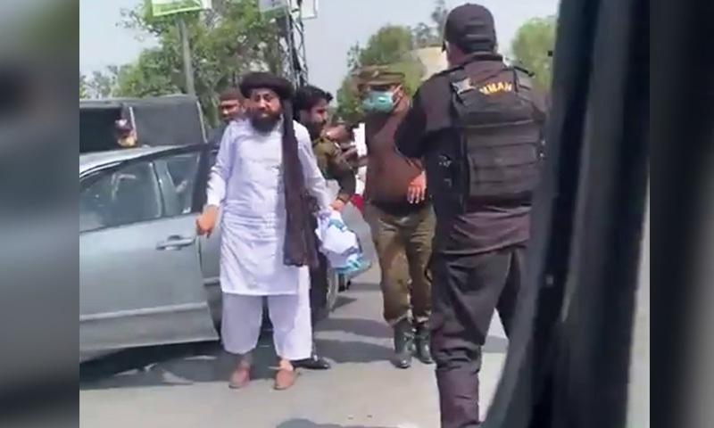 TLP chief Saad Rizvi being taken into custody in Lahore. — Screengrab