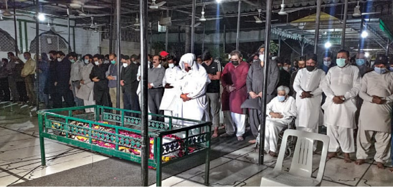 Funeral prayers for rights activist I.A. Rehman being offered. — White Star