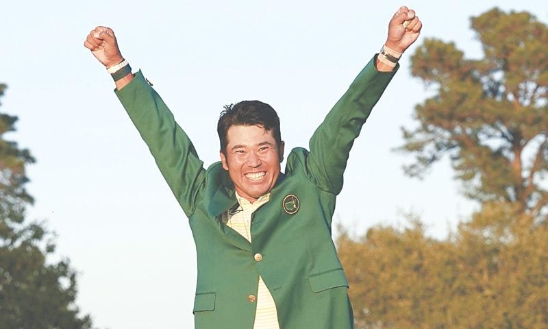 HIDEKI Matsuyama celebrates in the green jacket after winning the Masters.—AP