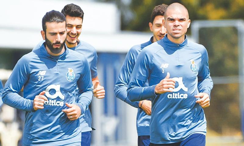 PORTO: FC Porto's Pepe attends a training session on Monday.—AFP