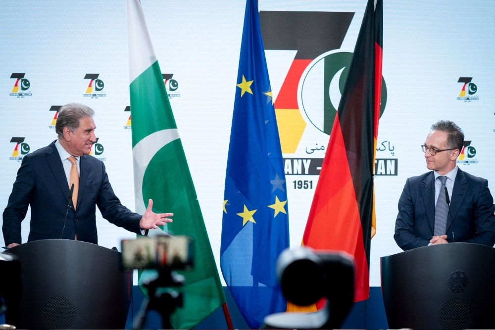 German Foreign Minister Heiko Maas meets Pakistani counterpart Makhdoom Shah Mahmood Qureshi in Berlin on April 12. — Reuters