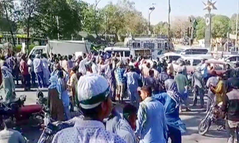 TLP workers protest at Star Gate. — DawnNewsTV
