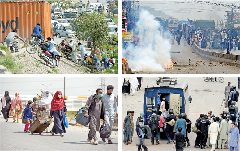 Clockwise from top: Motorcyclists use an alternative route after Faizabad was sealed with containers, protesters block a road in Bhara Kahu while some have been arrested and are being shifted into a police van and people walk to their destinations due to unavailability of transport. — Photos by Mohammad Asim & Tanveer Shahzad