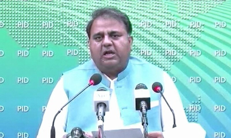 Minister for Science and Technology Chaudhry Fawad Hussain addresses a post-cabinet meeting press conference on Tuesday. — DawnNewsTV