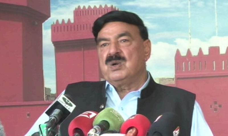 Interior Minister Sheikh Rashid Ahmed addresses a press conference on Wednesday. — DawnNewsTV