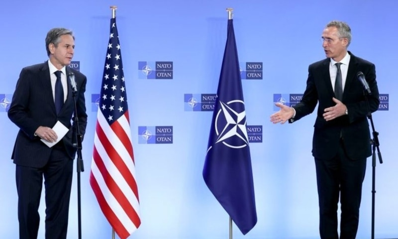 US Secretary of State Antony Blinken and Nato Secretary General Jens Stoltenberg attend a news conference at Nato's headquarters in Brussels, Belgium, April 14. — Reuters