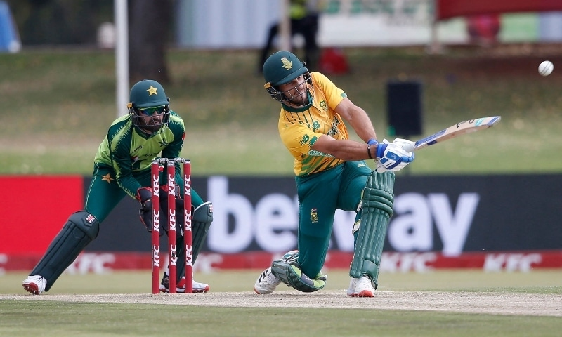 South Africa's Janneman Malan (R) plays a shot as Pakistan's Mohammad Rizwan (L) looks on during the third Twenty20 international between South Africa and Pakistan at SuperSport Park in Centurion on April 14. — AFP