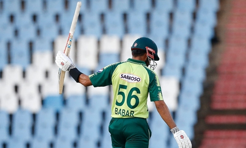 Pakistan captain Babar Azam celebrates after scoring a half-century during the third Twenty20 international between South Africa and Pakistan at SuperSport Park in Centurion on April 14. — AFP