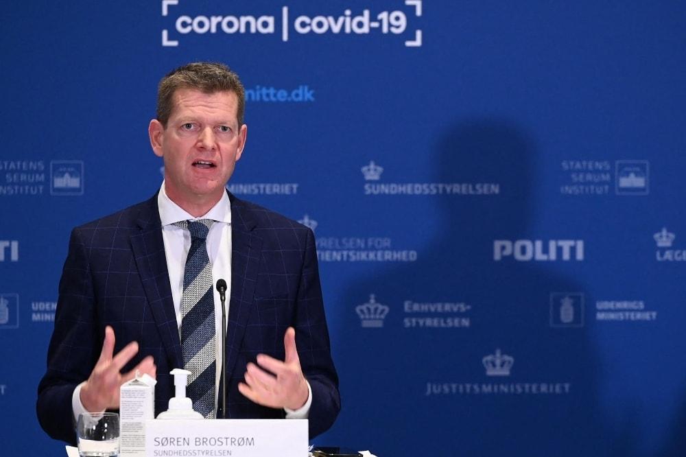 Director of Denmark's National Board of Health Soeren Brostroem addresses a press conference on April 14. — AFP