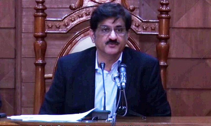 Sindh Chief Minister Murad Ali Shah addresses a press conference in Karachi. — DawnNewsTV/File
