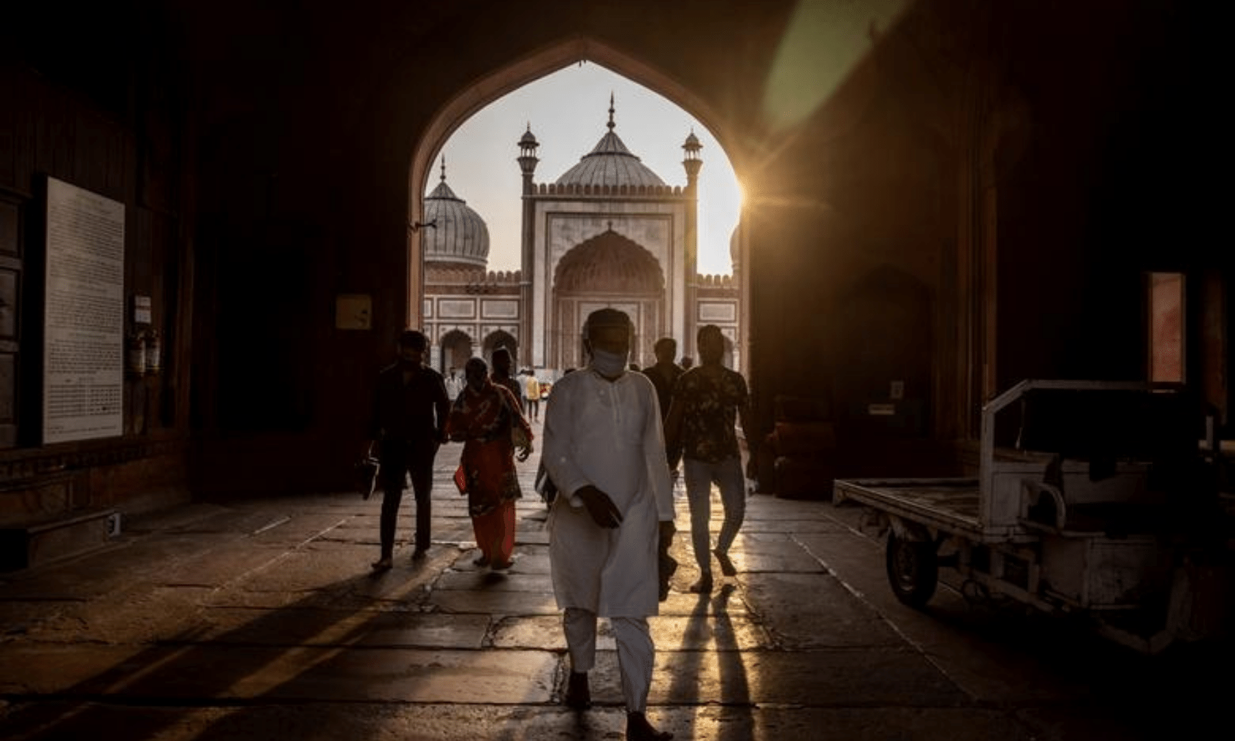 People leave after offering prayers on the first day of Ramazan at Jama Masjid in the old quarters of Delhi, India. — Reuters