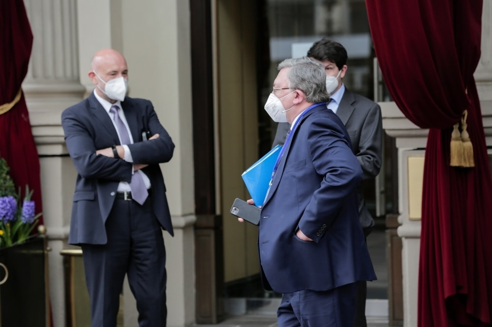 Mikhail Ulyanov, Russia's ambassador to the IAEA arrives at the Grand Hotel Wien where closed-door nuclear talks with Iran take place, in Vienna on April 15. - AP