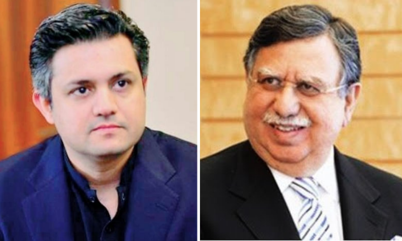 This combination file photo shows Hammad Azhar (L) and Shaukat Tarin (R). — APP