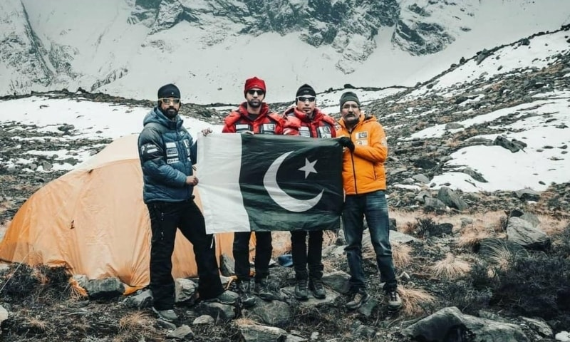 The four-member Pakistani team that successfully completed the Annapurna expedition. — Photo courtesy: Sirbaz Khan Instagram