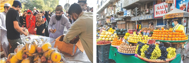 A group of good Samaritans charge Rs20 for a bag of fresh fruit in the Jail Chowrangi area and (right) vendors in Saddar charge premium rates on Friday. —Fahim Siddiqi/White Star