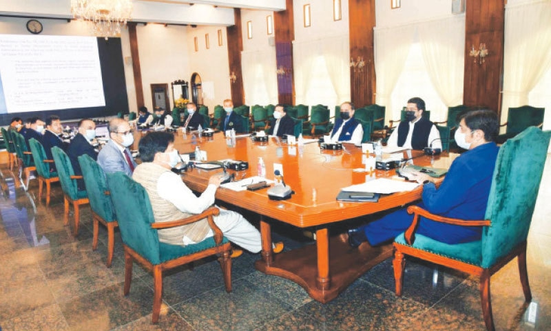 The chief minister presides over the safe city project meeting at CM House on Friday. — PPI