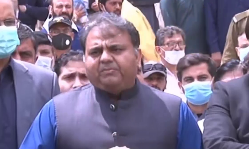 Federal Minister for Information Fawad Chaudhry speaks to the media in Rawalpindi on Saturday. — DawnNewsTV