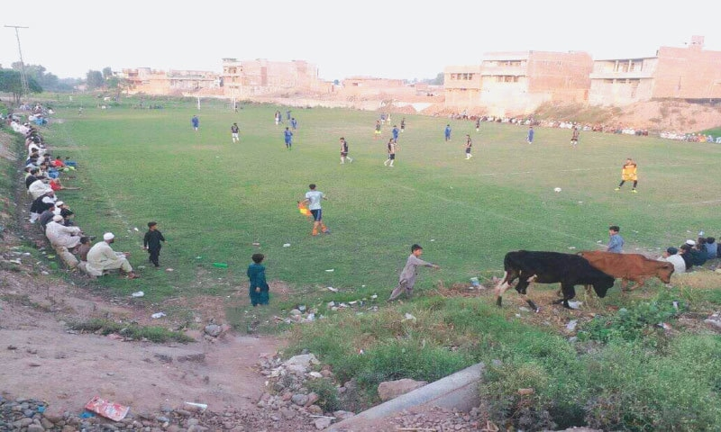 A football match under way on an open ground on Nasir Bagh Road in Peshawar where cattle also graze | Photo by the writer