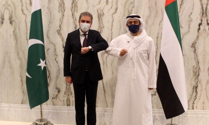 In this Dec 18, 2020 file photo, Foreign Minister Shah Mahmood Qureshi meets with his United Arab Emirates counterpart, Sheikh Abdullah bin Zayed Al Nahyan, in Abu Dhabi. — Photo courtesy Shah Mahmood Qureshi Twitter