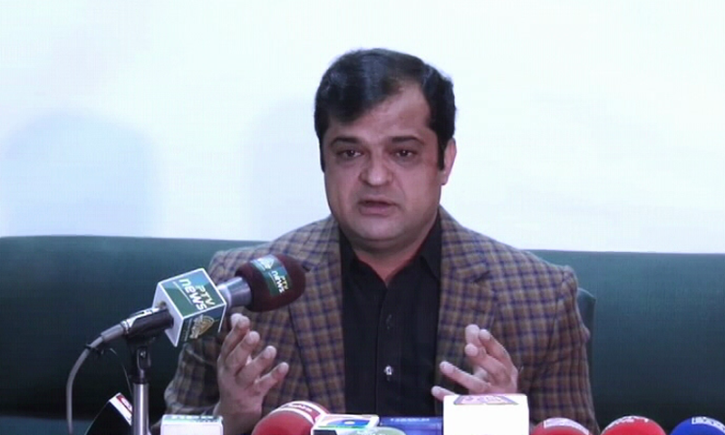 Spokesperson for the Balochistan government Liaquat Shahwani speaks at a press conference. — DawnNewsTV/File