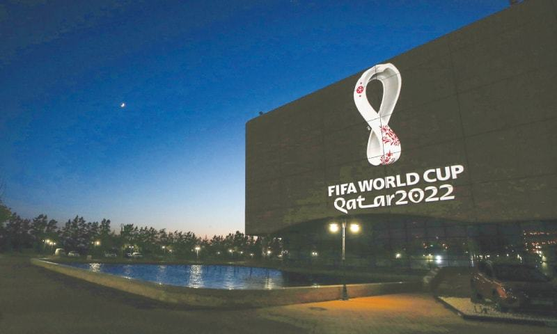 The FIFA World Cup Qatar 2022 logo is projected on the facade of the Algiers Opera House. — AFP/File