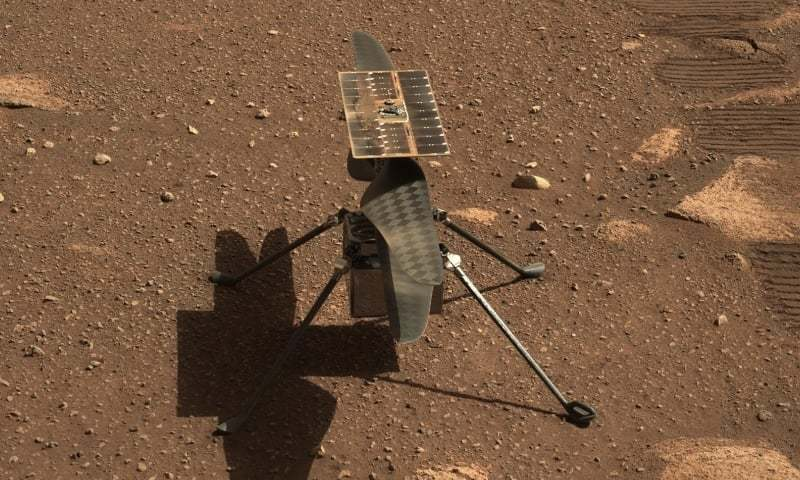 This Nasa photo shows the Ingenuity Mars helicopter in a close-up taken by Mastcam-Z, a pair of zoomable cameras aboard the Perseverance rover. — Photo by Nasa