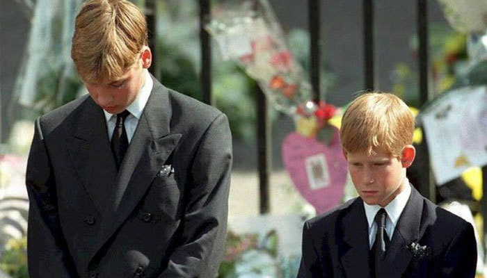 Prince William and Prince Harry at their mother Diana's funeral in 1997. — AFP