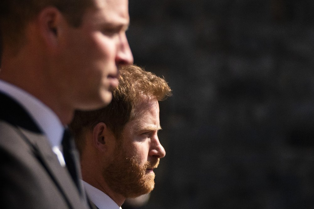 Prince William and Prince Harry walk in the procession ahead of Britain Prince Philip's funeral at Windsor Castle. — AP