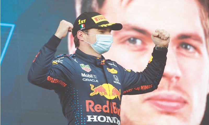 RED BULL driver Max Verstappen of the Netherlands celebrates on podium after winning the Emilia-Romagna F1 Grand Prix on Sunday.—AP