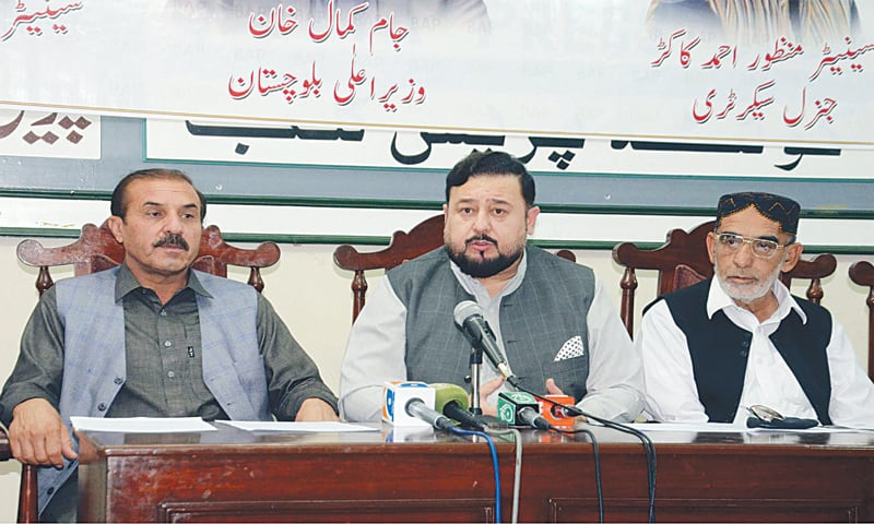 QUETTA: Balochistan Awami Party leader Agha Umar Ahmedzai speaks at a press conference on Sunday.—PPI