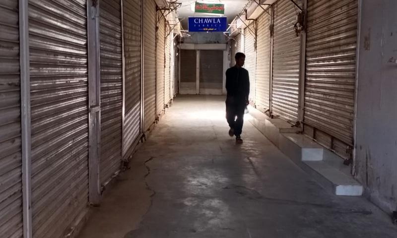 لاہور کی مارکیٹوں میں کاروباری سرگرمیاں معطل رہیں—تصویر: عمران گبول