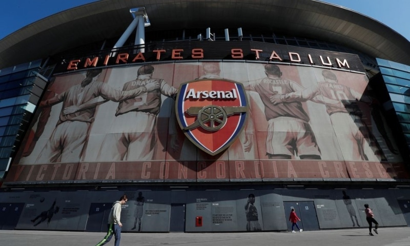 The Emirates Stadium is seen as twelve of Europe's top football clubs launch a breakaway Super League, London, Britain, April 19. — Reuters