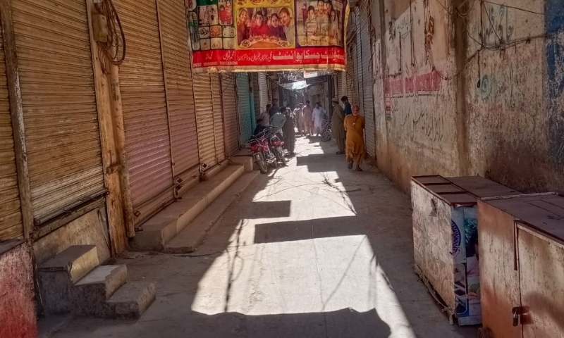 A view of a deserted market in Lahore. — Photo by Imran Gabol