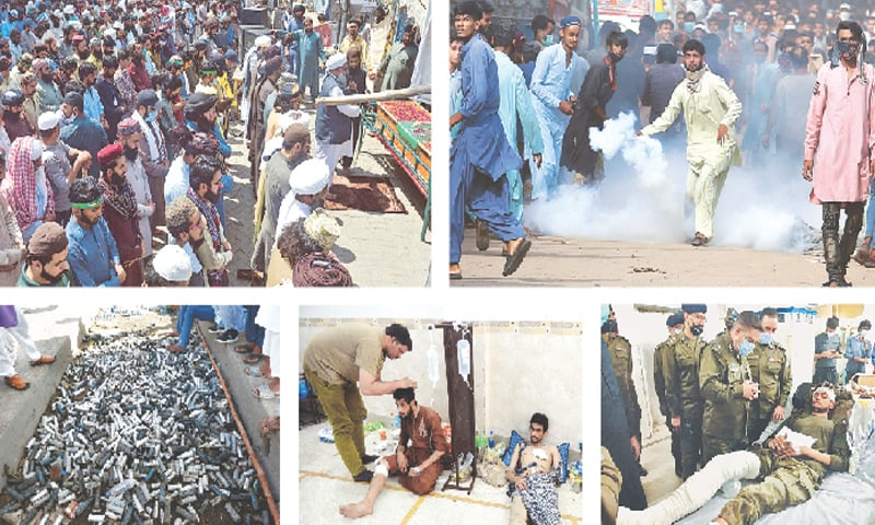 (Clockwise) Workers of the banned Tehreek-i-Labbaik Pakistan attend the funeral of a member of the party in Lahore on Monday. A TLP supporter prepares to hurl back a tear gas canister fired by the police to disperse protesters in Karachi. Lahore CCPO Ghulam Mehmood Dogar inquires about the health of a police official who was injured during a clash with TLP workers. TLP supporters, who were injured during the clash, receive medical aid at a mosque in Lahore. Supporters of the TLP stand beside a pile of empty tear gas canisters fired by the police in Lahore. — Online / AP / PPI / Reuters