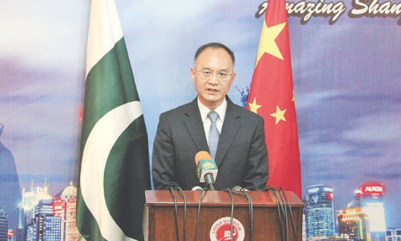 PESHAWAR: Chinese Ambassador Nong Rong addresses a press conference here on Monday. —Shahbaz Butt / White Star