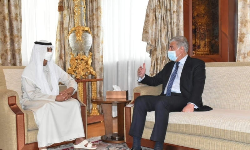 Foreign Minister Shah Mahmood Qureshi meets Emirati Minister for Tolerance and Coexistence, Sheikh Nahyan Mabarak Al Nahyan. — Photo courtesy Twitter