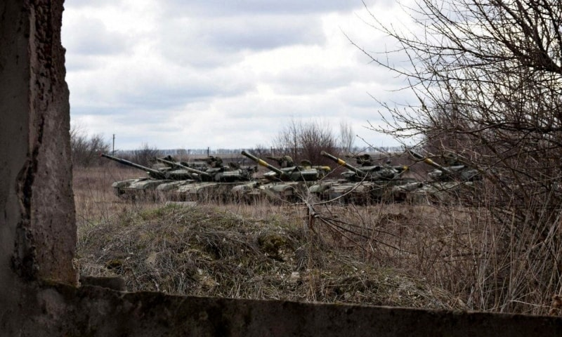 This handout picture taken and released by the Armed Forces of Ukraine press-service shows Ukrainian forces taking part in a tank drills in Donbass region on April 18. — AFP