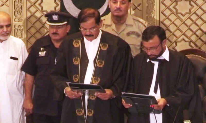 This file photo shows PTI's Mushtaq Ghani taking oath as the new speaker of KP Assembly. — DawnNewsTV/File