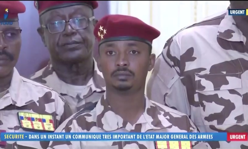 Mahamat Idriss Deby, also known as Mahamat Kaka, named interim president by a transitional council of military officers, is seen during a news conference in Ndjamena, Chad on Tuesday. — Reuters