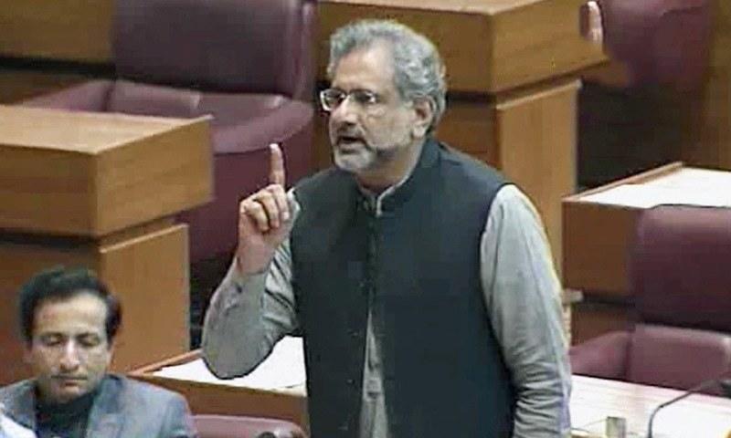 PML-N's Shahid Khaqan Abbasi speaks during the NA session on Tuesday. — DawnNewsTV